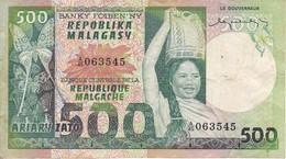 BILLETE DE MADAGASCAR DE 500 ARIARY DEL AÑO 1974 (BANKNOTE) - Madagascar
