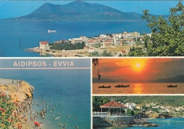 AIDIPSOS-EVVIA - EUBOEA (Griechenland) - L.EDIPSOS, Karte Gel., 2 Sondermarken - Griechenland