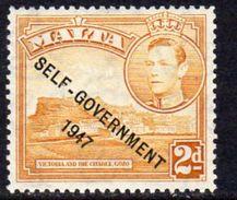 Malta GVI 1948-53 New Constitution Overprints, 2d Yellow-ochre, MNH SG 238c (A) - Malta