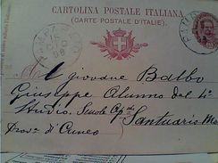 Intero Postale Umberto I C.10 (Filag. C25) Millesimo 98 DA PAMAPARATO X Per MONDOVI  VB1898  GD14630 - 1878-00 Umberto I