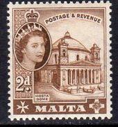 Malta 1956-8 2d Definitive, Mosta Church, MNH SG 270 (A) - Malta