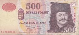 BILLETE DE HUNGRIA DE 500 FORINT DEL AÑO 1998  (BANKNOTE) - Hungría