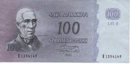 BILLETE DE FINLANDIA DE 100 MARKKAA DEL AÑO 1963 EN CALIDAD MBC (VF)  (BANKNOTE) - Finlandia