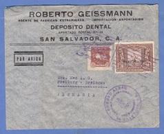 SAN SALVADOR 1936 - Seltene 2 Fach Frankierung Auf LP-Firmenbrief, Sonderstempel, Gel.nach Freiburg Im Breisgau - El Salvador