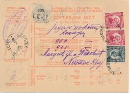 SKOPLJE / Jugoslavia /Yugoslavia - 1922 , Paketschein  - Big Letter, Dispatch = 6,70 EURO (registered) - 1919-1929 Königreich Der Serben, Kroaten & Slowenen