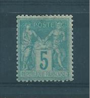 Type Sage N°75  5ct Vert (typeII) Neuf Charnière Cote 10€ - 1876-1898 Sage (Type II)