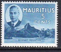 Mauritius GVI 1950 5c Definitive, Rempart Mountain, MNH SG 280 (A) - Mauritius (...-1967)