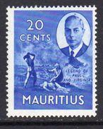 Mauritius GVI 1950 20c Definitive, Legend Of Paul & Virginie, MNH SG 283 (A) - Mauritius (...-1967)