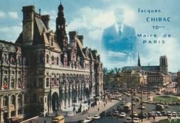 PARIS - L' Hôtel De Ville Et Notre Dame - Silhouette Jacques Chirac 10è Maire De Paris - Non écrite - Panoramic Views