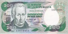 BILLETE DE COLOMBIA DE 200 PESOS DE ORO DEL AÑO 1984  (BANK NOTE) SIN CIRCULAR-UNCIRCULATED - Colombia