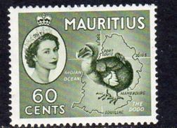 Mauritius QEII 1953-8 60c Definitive, Dodo Bird, Bronze-green, MNH SG 302ab (A) - Mauritius (...-1967)