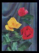 *Roses* Postal 3D. Ed. Visiorelief. Escrita. - Estereoscópicas