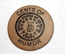 Wooden Token 5c - Wooden Nickel - Jeton Bois Monnaie Nécessité 2002 - 5 Cents - Evansville Etats-Unis - Monétaires/De Nécessité