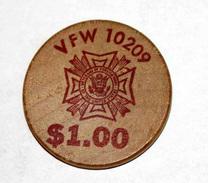 Wooden Token 1$ - Wooden Nickel - Jeton Bois Monnaie Nécessité - Tête D´Indien - One Dollar - Etats-Unis - Monedas/ De Necesidad