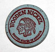 Wooden Token - Wooden Nickel - Jeton Bois Monnaie Nécessité - Tête D´Indien - Fox Photo Kodak - Renard - Etats-Unis - Monedas/ De Necesidad