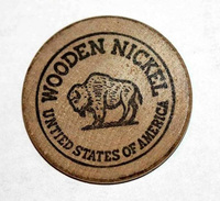 Wooden Token - Wooden Nickel - Jeton Bois Bison Monnaie Nécessité - Appreciation Dinner 1969 - Etats-Unis - Monedas/ De Necesidad