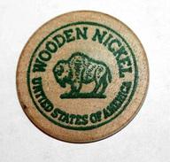 Wooden Token - Wooden Nickel - Jeton Bois Bison Monnaie Nécessité - Miami Floride - Etats-Unis - Monetary/Of Necessity
