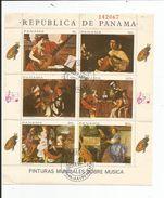 BLOC  PANAMA  PINTURAS MUNDIALES SOBRE MUSICA (6  Timbres) - Panama