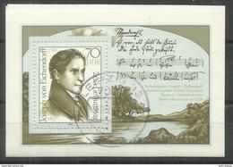 """DDR Bl.92 """"200. Geburtstag Von. Freiherr Von Eichendorff"""" Gestempelt  Mi.-Preis 2,50 - [6] Democratic Republic"""