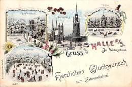 Halle A.S. S/w Litho Gel.1898 AKS - Halle (Saale)