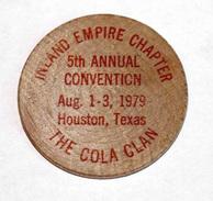 Wooden Nickel - Jeton Bois 1979 Monnaie Tête D´Indien - The Cola Clan Houston - Coca Cola - Etats-Unis - Wooden Token - Monetary/Of Necessity