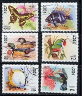 CUBA 1996, PAPILLON POISSONS OISEAUX CANARD,  6 Valeurs, Oblitérés / Used. R917 - Cuba