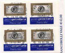 ITALIA  2004 POSTA PRIORITARIA  € 1,50 X 4 Usato / Used 1° Giorno - 1946-.. République