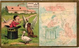 6 Cartes SERIE Compl.  Litho Chromos C1890, Pub; Chocolat SCHAAL Compagnie Française RECIPE Cartes à Colorer STRASBOURG - Chocolat