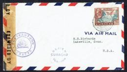 1943  Lettre De Willemstadt  Pour Les USA  Censure De Curaçao - Curaçao, Nederlandse Antillen, Aruba