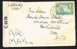 1943  Letter From Hamilton To USA SG 143c  British Censor In Bermuda - Bermudes