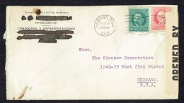 1918 Letter To USA US Censor - Lettres & Documents