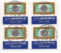 ITALIA  2004 POSTA PRIORITARIA  € 1,40 X 4 Usato / Used 1° Giorno - 1946-.. République