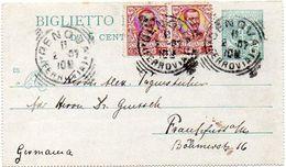 ITALY / ITALIA 1907. Entire Letter Card. Biglietto Postale Da 5 Centesimi. Genova To Frankfurt - Postwaardestukken