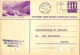 """11-19 - Entier Postal  Avec Illustration """"Gotthardpass-Tremola"""" 1938 - Attetnion 2 Trous En Bas Du Document - Entiers Postaux"""