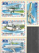 ST. VINCENT 50TH ANNIVERSARY AIR MAIL SERVICES 1932-1982 4 DIFFERENT CARDS A. D. THEOBALD PRINTER THE HOUSE OF QUESTA - St.-Vincent En De Grenadines