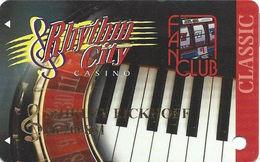 Rhythm City Casino - Davenport, IA USA - Slot Card - LARGE Clef Sign With Name - Casino Cards
