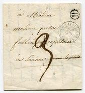 INDRE ET LOIRE LAC De  HOMMES Boîte Rurale H  Avec Dateur T 15 De CHATEAU LAVALLIERE Du 26/03/1848 - Postmark Collection (Covers)