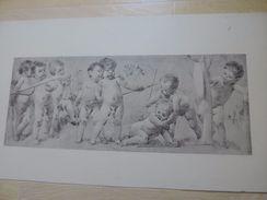 Lithographie Ancienne- Enfants Par Vojtěch Hynais 1887 - Lithographies