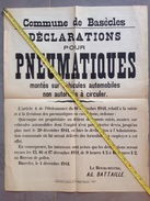PAD. 196. Basecles. WW II. 1941. Affiche.  Déclaration Pour Les Pneumatiques Montés Sur Véhicules Automobiles - Documentos Históricos