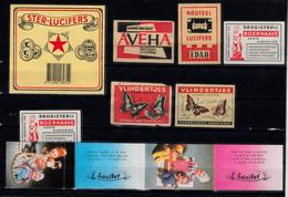 Lucifer Merken 8x : Ster, Aveha, Edah Castle, Boerhaave, Vlinders. Butterfly.lucifer - Luciferdozen - Etiketten
