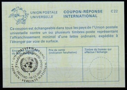 UNITED NATIONS VIENNA  FRIEDENSNOBELPREIS NOBEL PEACE PRIZE 2001 10.12.2001 Reply Coupon Reponse IRC IAS Antwortschein - Timbres