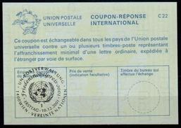 UNITED NATIONS VIENNA  FRIEDENSNOBELPREIS NOBEL PEACE PRIZE 2001 10.12.2001 Reply Coupon Reponse IRC IAS Antwortschein - Briefmarken