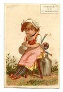 261 (02) - CHROMO CHOCOLAT CIE FRANCAISE - FILLETTE ASSISE SUR SA POUPEE - Chocolat