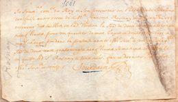 François De Rosnay.élection De Chalons En Champagne.Vélin.173 X  100 Mm.1661. - Documents Historiques