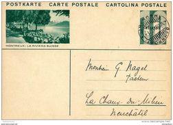 """11-87 - Entier Postal Avec Illustration """"Montreux, La Riviera Suisse"""" - Cachet à Date Banpost/Ambulant 1931 - Ganzsachen"""