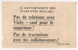TRACT PROPAGANDE AMERICAIN  ANTI VICHY ANTI COLLABO  2EME GUERRE MONDIALE MARS 1944 - Documenti Storici