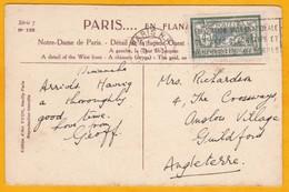 1924 - YT 143 Merson 45 C  Seul Sur CP De Paris à Guildford, GB - Vue ND Paris, Gargouille Et Tour St Jacques Arts Déco - Cartas