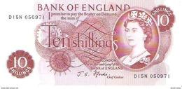 England - Pick 373c - 10 Shillings 1966 - 1970 - AUnc - 1952-… : Elizabeth II