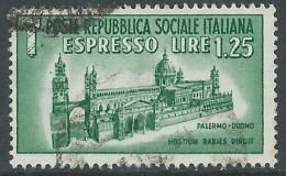 1944 RSI USATO ESPRESSO DUOMO DI PALERMO - R14-8 - 4. 1944-45 Repubblica Sociale