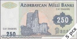 TWN - AZERBAIJAN 13b - 250 Manat 1999 DEALERS LOT X 5 - Prefix CA AU - Azerbaigian